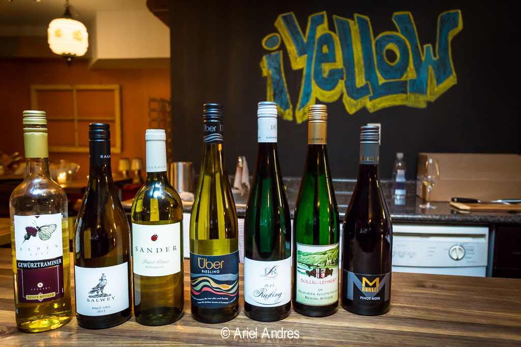 Seven wines from Germany. From left to right a Gewurztraminer, a Pinot Gris, a Pinot Blanc, three Rieslings and a Pinot Noir [Canon 6D, Canon EF 17mm-40mm f/4 L]