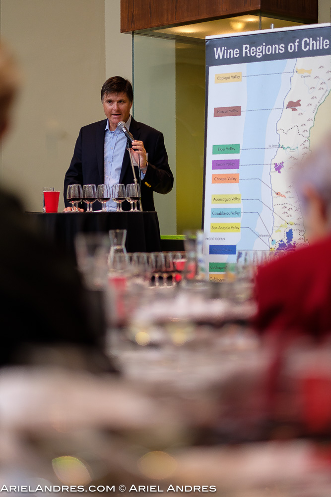 The president of Wines of Chile speaking at the seminar during the Love Wine, Love Chile event at the Royal Ontario Museum in Toronto on November 1, 2016
